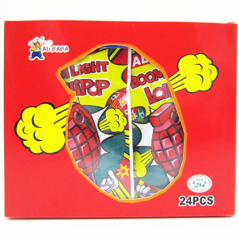 Grenade Shape Healthy Lollipop With Poping Candy / Low Calorie Hard Candy